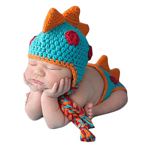 Family Costumes With Newborn (SIKEMAI Newborn Photography Props Outfits - Baby Boy/Girl Knitted Hat Pants Dinosaur Costume Set)