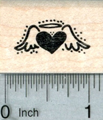 Heart Angel Rubber Stamp, Tiny Size