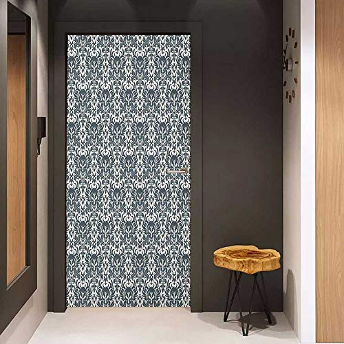 Onefzc Door Sticker Mural Skull Baroque Skulls in Floral Ornament Pattern Scary Artistic Victorian Print WallStickers W38.5 x H77 Charcoal Grey and White ()
