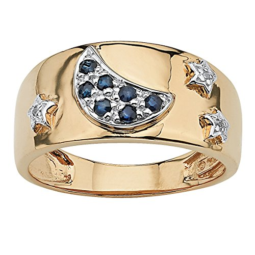 Midnight Blue Sapphire (Genuine Midnight Blue Sapphire 18k Gold over .925 Sterling Silver Moon and Stars Ring)