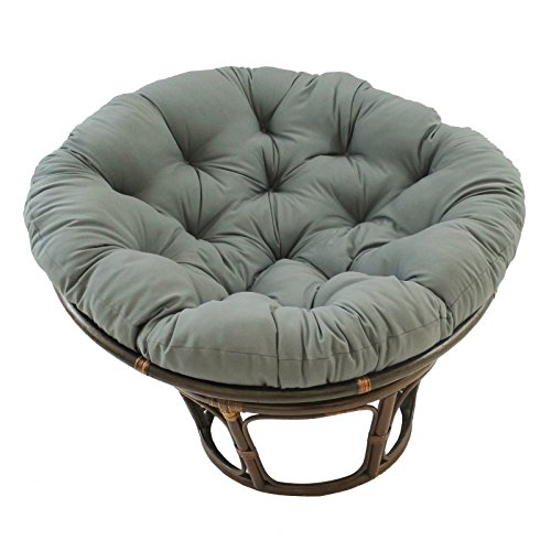 International Caravan 3312-TW-GY-IC Furniture Piece 42-inch Rattan Papasan Chair with Solid Twill Cushion
