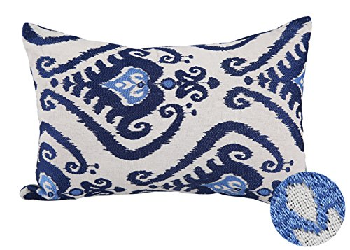 Floral Oblong Decorative Pillow (Deconovo Embroidered Pillow Covers Oblong Floral Pattern Throw Pillowcases for Sofa Blue 18 X 12 Inches)
