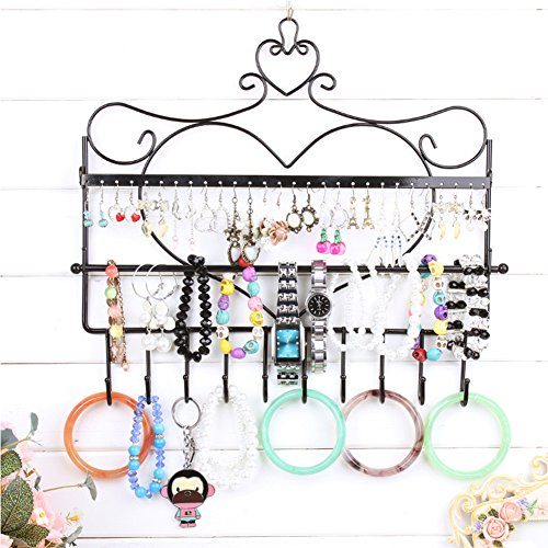 LoVnely Metal Frame Heart Shaped Hanging Jewelry Display Rack with Hooks for Earrings Necklace Bracelet Tangle-free (A, ()