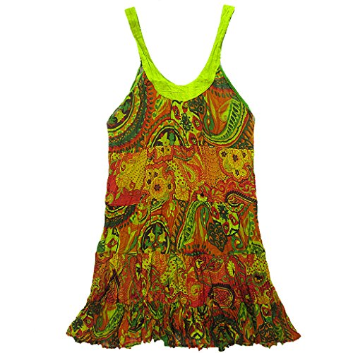 Coconutwoww Women's 5 Sleeveless Short Tier Cotton Colourful Dress rwrz7On