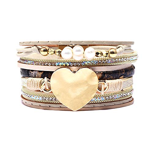 (CHOA 3 Pcs Summer Surfer Wave Bracelet Adjustable Friendship Bracelet Handcrafted Jewelry Women (Q:Heart Beige))