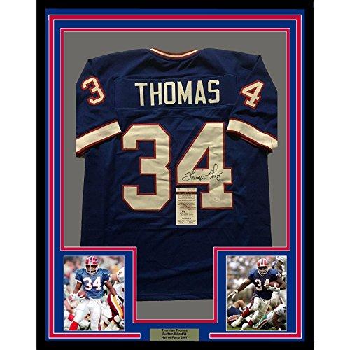 Framed Autographed/Signed Thurman Thomas 33x42 Buffalo Bills Blue Football Jersey JSA COA