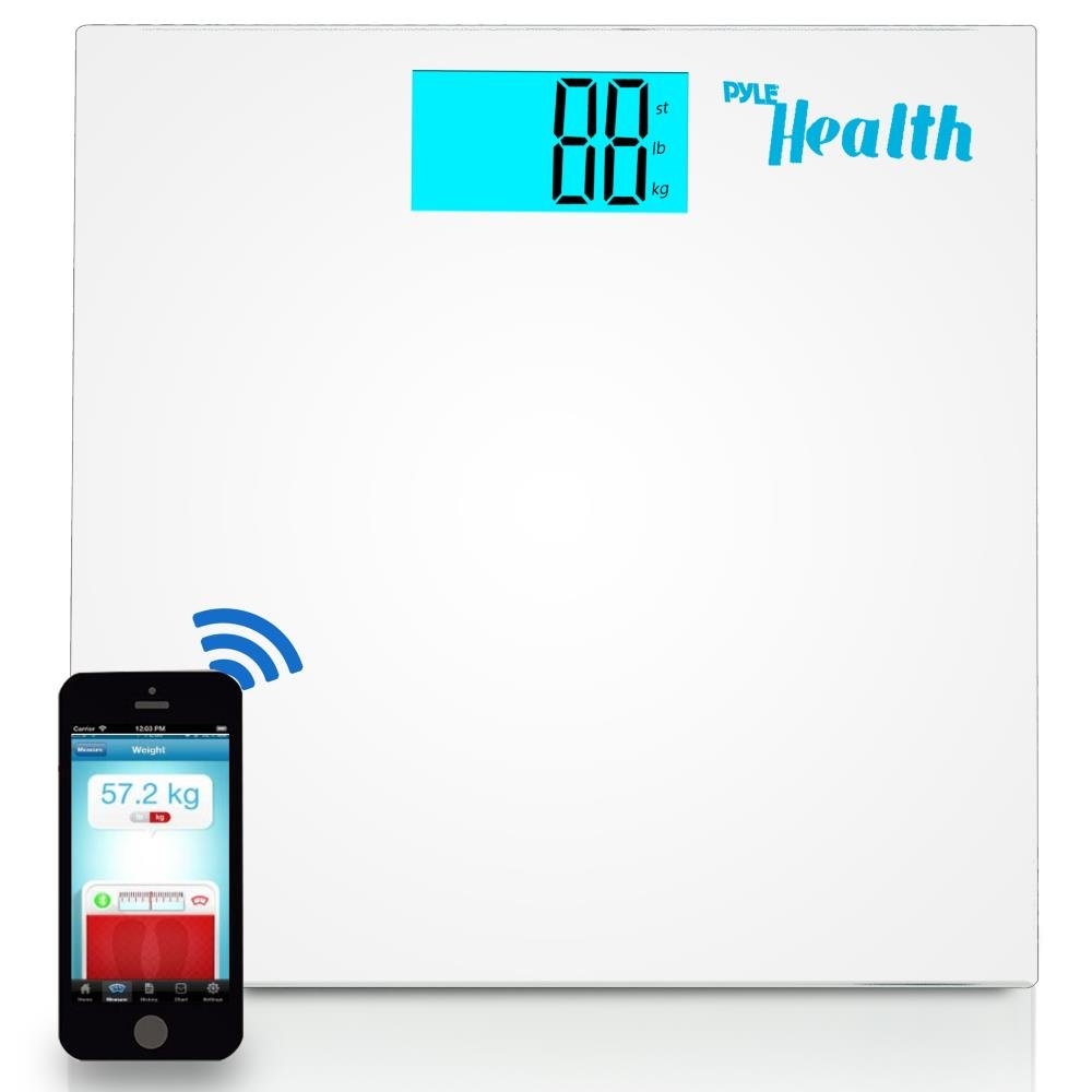 Pyle Digital Scale Smart Bathroom Body weighing scale With Wireless Bluetooth Smartphone composition analyzer for iPhone iPad & Android Devices Large Display (PHLSCBT2WT) (White) by Pyle (Image #1)