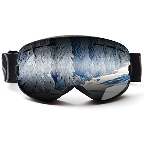 Ski Goggles, Zuanshiyan Double lens Spherical Wide Vision UV Protection Anti-fog Snowboard Ski Glasses For - 50 Glass Curved