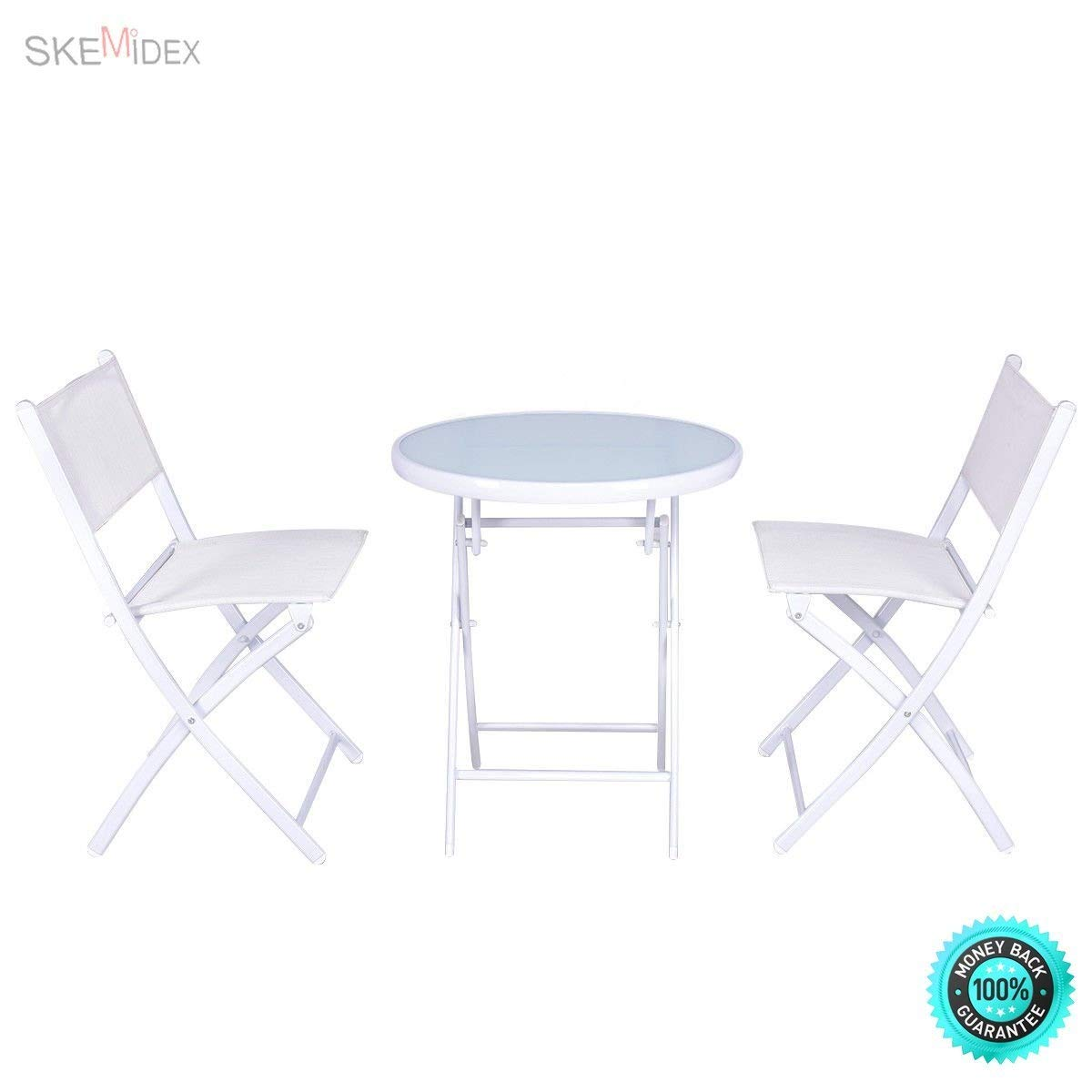 SKEMiDEX 3 PCS Folding Bistro Table Chairs Set Garden Backyard Patio Furniture White New It enjoyable to have breakfast or afternoon tea in the garden or other outside space with this comfortable.