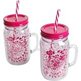 The Pioneer Woman Simple Homemade Goodness 32-Ounce Traveling Vines Double-Wall Mason Jar with Lid and Handle, Set of 2
