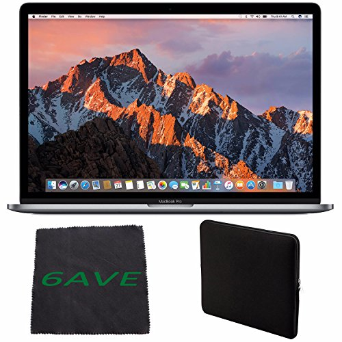 Apple MacBook Pro MLH32LL/A 15.4-inch Laptop with Touch Bar (2.6GHz quad-core Intel Core i7, 256GB Retina Display), Space Gray + Padded Case For Macbook Bundle -  6AVE, MLH32LL/A-1