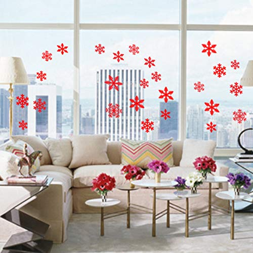 FENBAO 108 pcs Red Snowflakes Window Clings Decal Stickers Christmas Thanksgiving Decorations Ornaments Party Supplies (4 Sheets) -