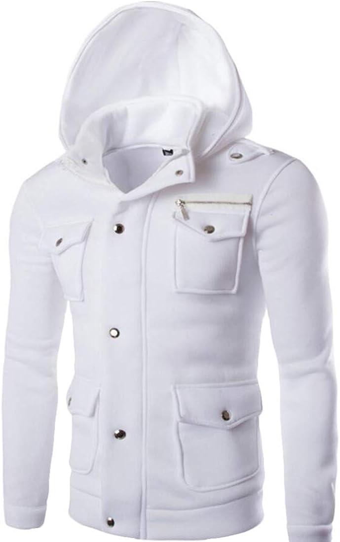 Qiangjinjiu Mens Hoodie Zip up Coat Long Sleeve Sweatshirt Outwear Zip Casual Jacket Top