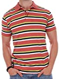 Enimay Men's Casual Short Sleeve 100% Quality Cotton Striped Polo Shirt Rugby Top Orange X-Large