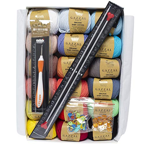 Gazzal Organic Baby Cotton Gift Set, 18 Balls of Assorted Colors, 100% Cotton, 1 Ball: 50g (1.76 oz)/115 m (125 yds), Yarn Weight: 3 Light-Dk