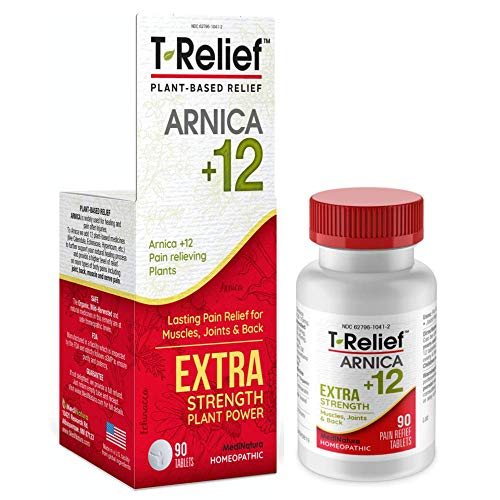 MediNatura T-Relief Extra Strength Pain Relief with Arnica + 12 Plant-Based Pain Relievers (90 Tablets)