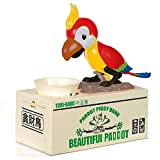 Lanlan 1PCS Stealing Coin Cat Money Box Piggy Bank Savings Box Funny Toys To Pass The Time Colorful Box Package Valentine's Christmas Birthday New Year Kids Electric Toy Gift Green Parrot Red Parrot