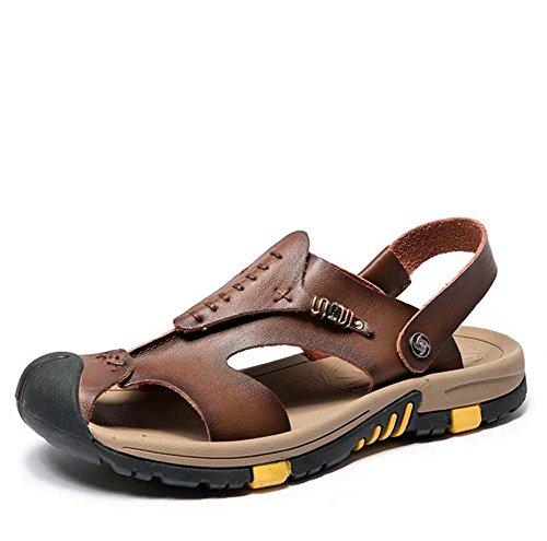 in spessa britannica Sandali pelle in Brown con Baotou pantofola da taglie casual 38 estate suola pelle Ydxwan traspiranti traspirante antiscivolo sandali 45 scarpe Dark uomo xa4UwYXq