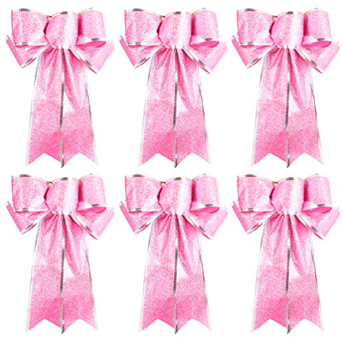 Ribbon Bow Large Pink Glitter Ribbon Bows for Christmas Tree Hanging Ornaments Gifts Bow Decorations, 6pcs Christmas Bow Ball Ornament