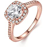 Eternity Love Women's 18K Rose/White/KC Gold Plated Princess Cut CZ Crystal Engagement Rings Best Promise Rings...