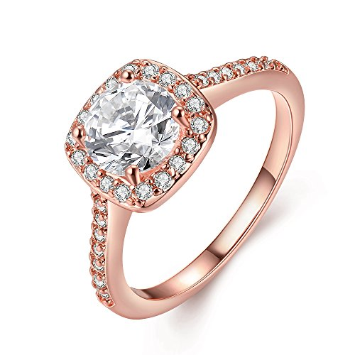 Naivo Gold Plated Crystal Stone Halo Setting Pave Band Engagement Ring Women's (1.90 carats) (Rose Gold, 9) (Rose Gold Engagement Ring Settings)