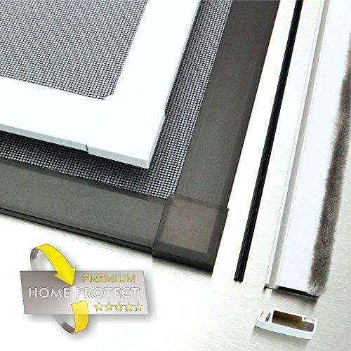 Premium Insektenschutzfenster Alu Bausatz weiß 120x150cm Fliegengitter Gaze Mücken