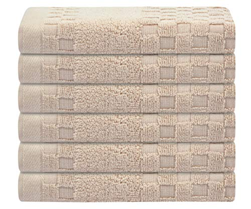 SUNLAND 100% Cotton Washcloths Extra Soft Fingertip Towels Highly Absorbent Face Cloths 6 Pack 13Inchx13Inch Light Brown by SUNLAND