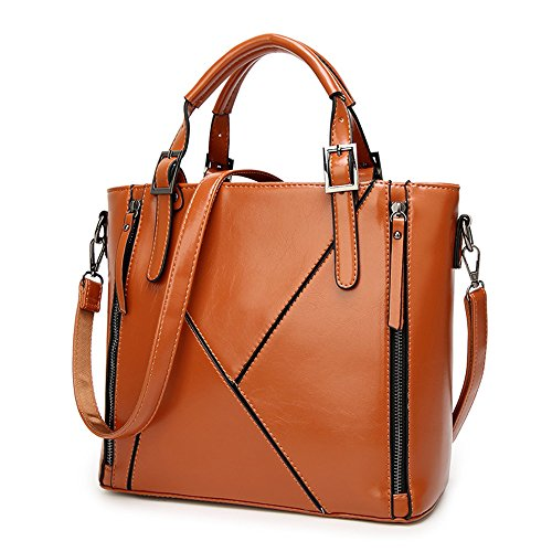 Portable Large Tote Shoulder Bags SUNROLAN Designer Brown on Handbags Womens Clearance PU Bags Leather Work qgwpw8OI