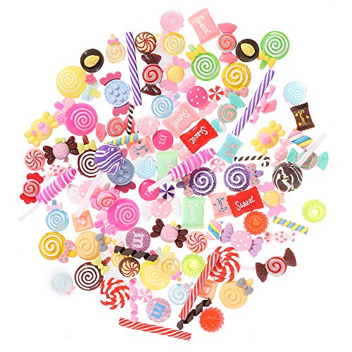 100 Pieces Super Cute Slime Charms Mixed Candy Sweets Resin Flatback Slime Beads Making Supplies for DIY Scrapbooking Crafts, Assorted Colors and Shapes ()