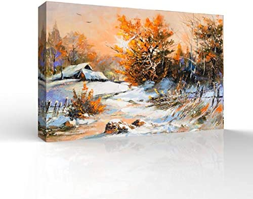 Winter Forest Snow Village Oil Painting