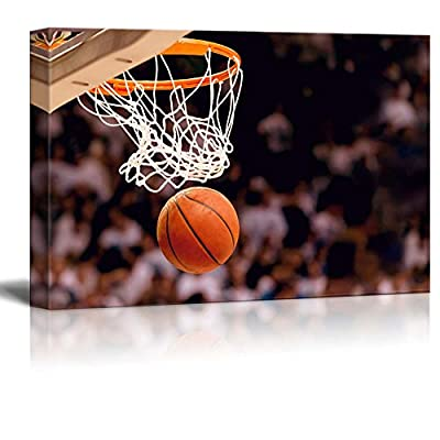 Swish - Basketball in Arena - Nothing but net - Gametime - Canvas Art Home Art - 32x48 inches