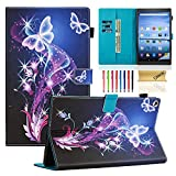 Dteck Case for All-New Amazon Fire HD 10 Tablet (7th Generation, 2017 Release) - Slim Fit PU Leather Folio Stand Smart Cover with Auto Wake/Sleep for Fire HD 10.1 inch, Twinkle Butterfly