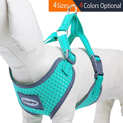 ThinkPet Reflective Breathable Soft Air Mesh Puppy Dog Vest Harness Neon Green Neck 12.5-15.5