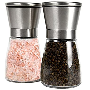 Q's Inn Salt and Pepper Grinder Set - [Lifetime Warranty] Brushed Stainless Steel Salt & Pepper Mill with Glass Bottle - Adjustable Ceramic Mechanism - Best Shakers Pair for Healthy Cooking