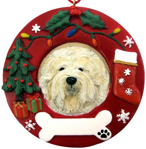 Lhasa Apso Christmas Ornament Wreath Shaped Easily Personalized Holiday Decoration Unique Lhasa Apso Lover Gifts (Apso Ornament Christmas Lhasa)