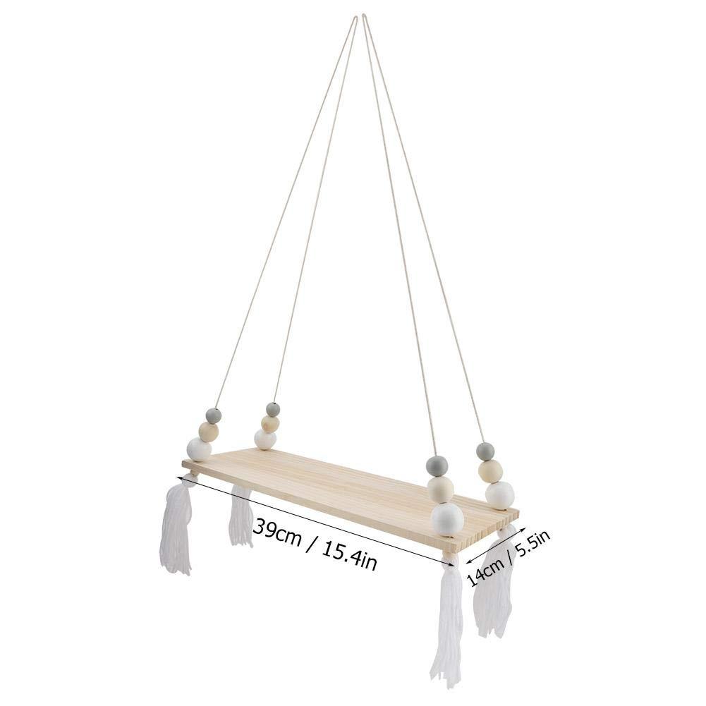 AUNMAS Mensola appesa a Parete con Perline tonde Decorativo Appeso Altalena Corda scaffali di stoccaggio scaffali con Nappe Fai da Te casa Decorazione della Parete 1#
