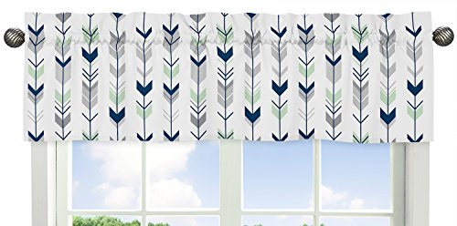 Sweet Jojo Designs Grey, Navy and Mint Woodland Arrow Print Girl or Boy Window (Nursery Valance)