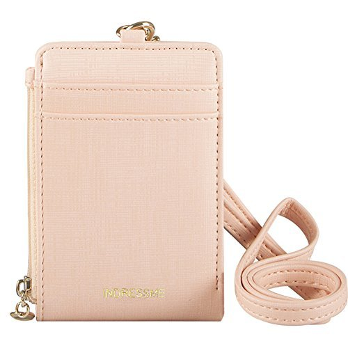 Indressme Womens Cute Candy Color Bifold ID Badge Holder with Lanyard Wallet 4 Petal Flower Necklace