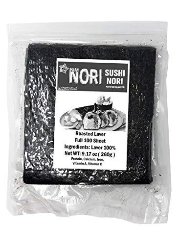 100 Full Sheets / 260g ( 9.17 oz ) Premium Restaurant Quality / Yaki Sushi Nori Roasted Seaweed Rolls 'n Wraps Laver, Resealable Bag - Full Sheet - ( 100 Sheets ) - Very Fresh