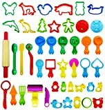 45 Pieces Clay Dough Tool Mold Cutters for Kids, Various Shapes, Assorted Colors by V-story