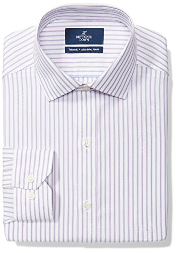 BUTTONED DOWN Men's Tailored Fit Spread-Collar Pattern Non-Iron Dress Shirt, Purple/White Stripe, 17