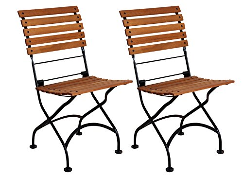 Cheap Mobel Designhaus French Café Bistro Folding Side Chair, Jet Black Frame, African Teak Wood Slats (Pack of 2)
