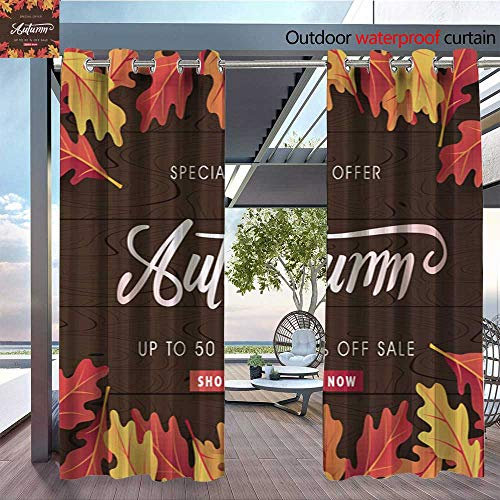 QianHe Outdoor Blackout Curtains AUTUMN-09.jpg Outdoor Privacy Porch Curtains W96 x L84(245cm x ()