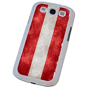 White Frame SAMSUNG GALAXY S3 i9300 Vintage Austria Austrian Flag Design Case Back Cover-Hard Plastic And Metal