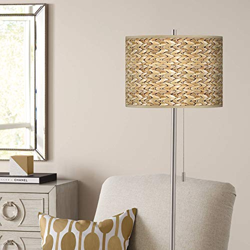 Modern Floor Lamp Brushed Nickel Tropical Seagrass Pattern Giclee Drum Shade for Living Room Reading Bedroom Office - Giclee Glow