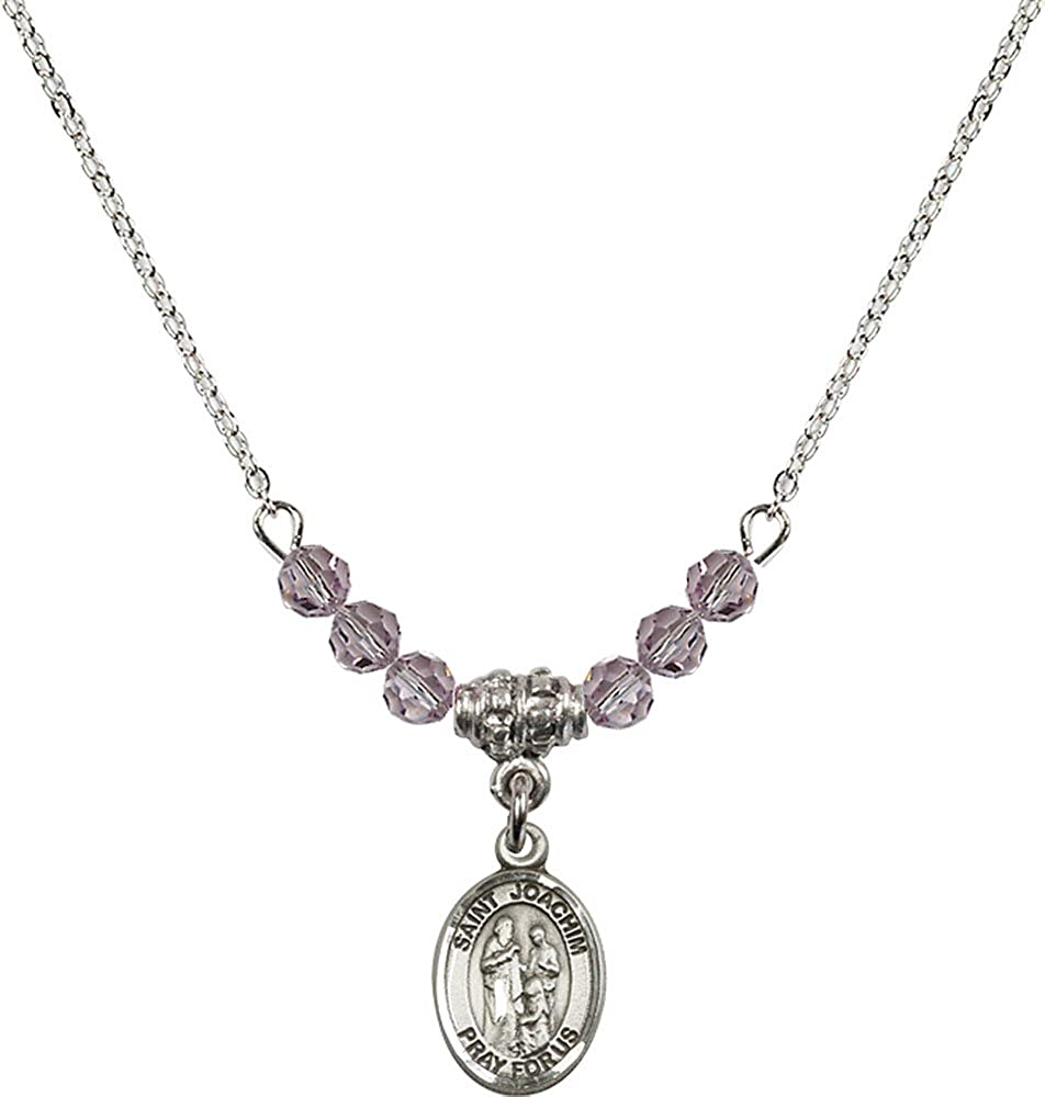 18-Inch Rhodium Plated Necklace with 4mm Light Amethyst Birthstone Beads and Sterling Silver Saint Joachim Charm.
