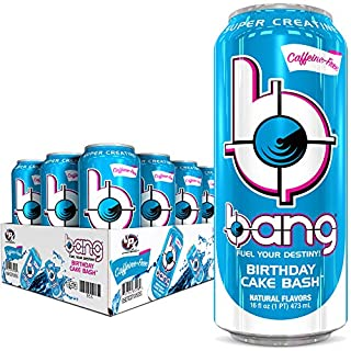 Bang Energy Caffeine Free Birthday Cake Bash Energy Drink, 0 Calories, Sugar Free with Super Creatine, 16oz, 12 Count
