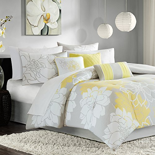 7 Piece Girls, Modern French Country Floral Pattern Comforter Set Queen, Contemporary Beautiful Large Scale Flower Printed Design, Unique Bouquet Themed, Gorgeous Bedding, White, Yellow, Grey Color by AF ULTRA