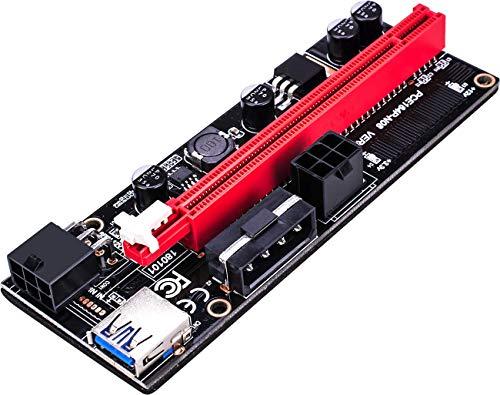 6 Pci-e Riser VER 009S Cripto mineria Con Cable Molex BEC