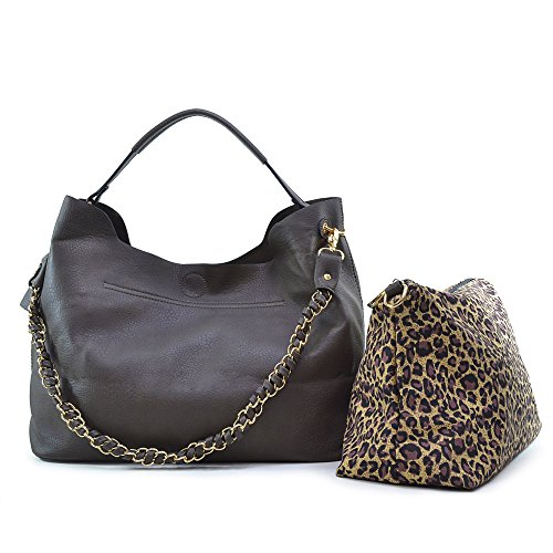 [Dasein 2-in-1 Faux Leather Hobo with Organizer Bag - Grey] (Hobo Purses)